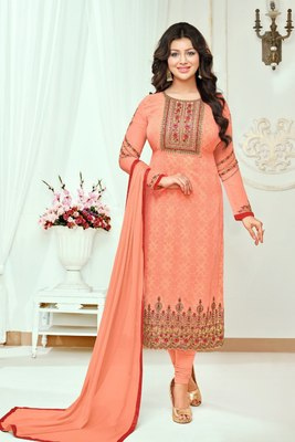 Orange printed georgette salwar