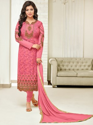 Pink printed georgette salwar