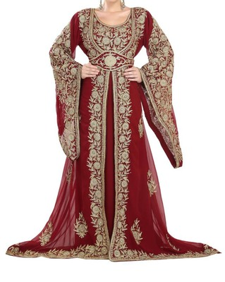 red georgette moroccan islamic dubai kaftan farasha aari and stone work dress