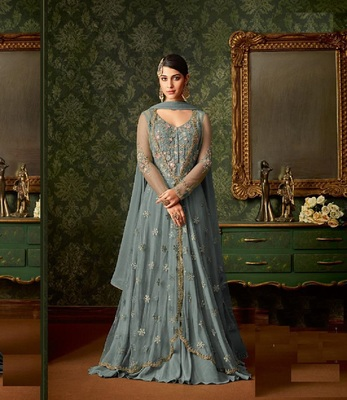 Gray embroidered net semi stitched salwar with dupatta