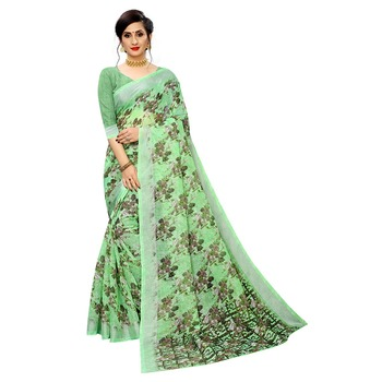 Parrot green printed linen saree with blouse