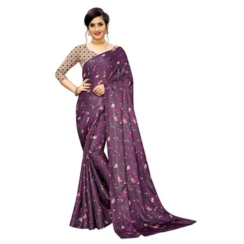 Wine printed linen saree with blouse