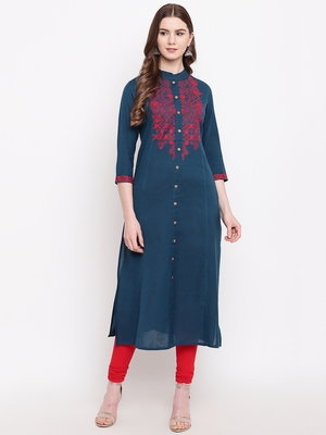 Navy-blue embroidered cotton embroidered-kurtis