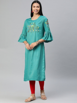 Turquoise embroidered rayon ethnic-kurtis