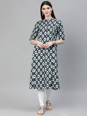 Grey printed cotton ethnic-kurtis