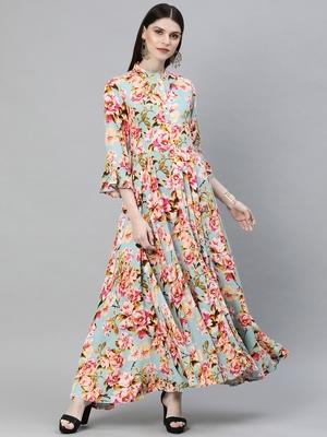 Multicolor printed rayon long-kurtis