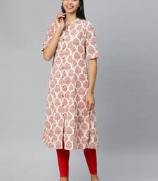 Cream printed cotton ethnic-kurtis