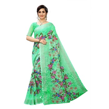 Teal printed linen saree with blouse