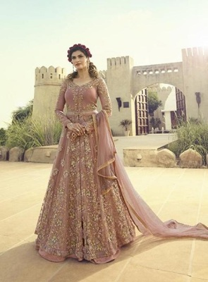 Light-purple embroidered santoon salwar