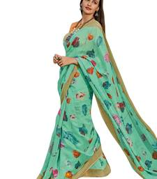 Green printed cotton poly saree with blouse