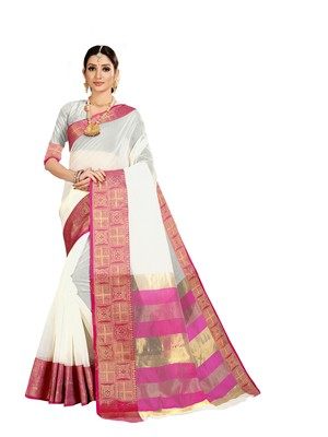 White woven kanchipuram silk saree with blouse