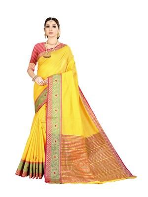 Yellow woven kanchipuram silk saree with blouse