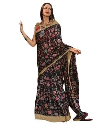 Black printed cotton poly saree with blouse
