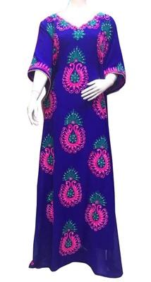 royal blue georgette moroccan islamic dubai kaftan farasha aari and stone work dress