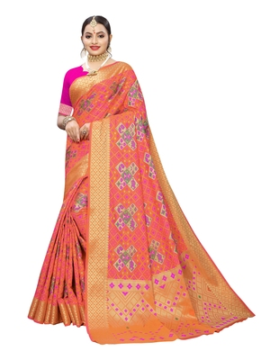 Peach woven poly silk saree with blouse