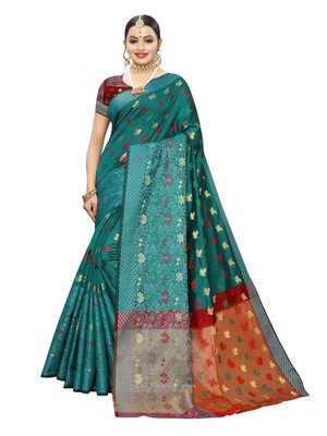 Turquoise woven chanderi saree with blouse
