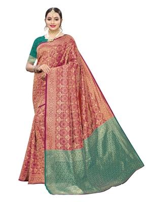 Rani pink woven poly silk saree with blouse