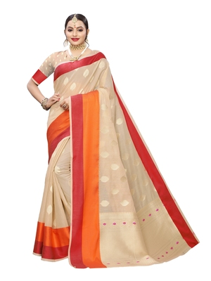 Beige woven cotton poly saree with blouse