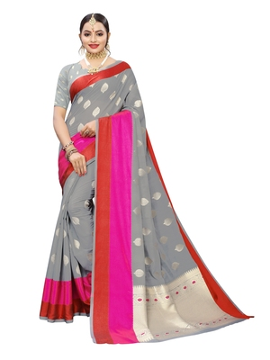 Grey Woven Cotton Poly Saree With Blouse