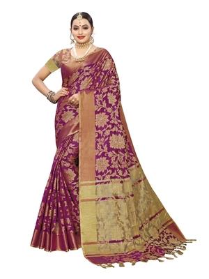 Purple woven cotton silk saree with blouse