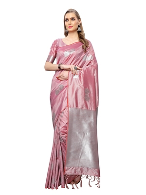 Mauve woven poly silk saree with blouse