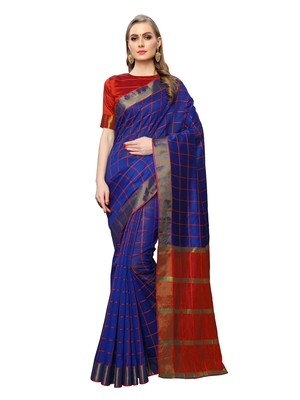 Royal Blue Woven Chanderi Saree With Blouse