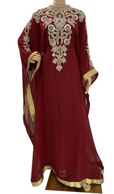 maroon georgette moroccan islamic dubai kaftan farasha zari and stone work dress