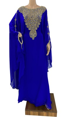 royal blue georgette moroccan dubai kaftan farasha zari and stone work dress