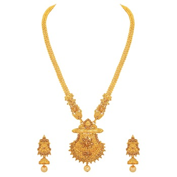 Gold crystal necklace-sets