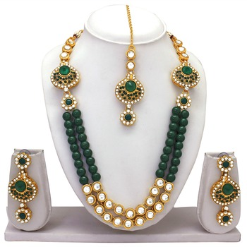 Green crystal necklace-sets