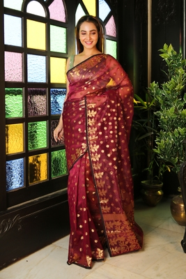 Wine woven blended cotton saree with blouse