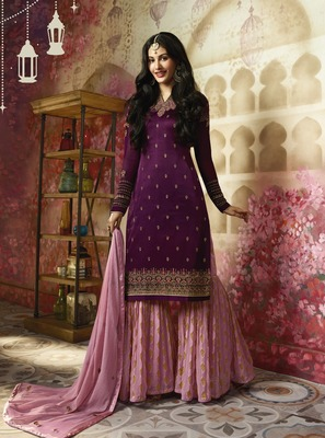 Purple printed georgette salwar