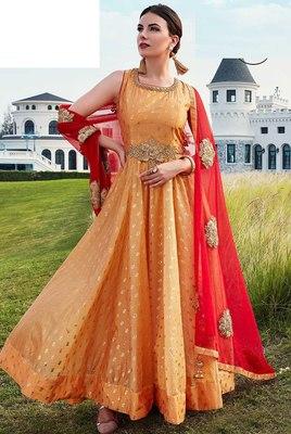 Orange printed silk salwar