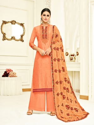 Orange printed silk salwar