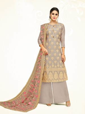 Grey printed silk salwar