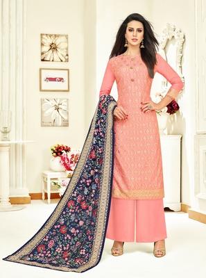 Pink printed silk salwar