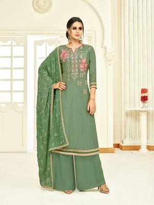 Green printed silk salwar