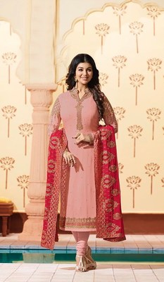 Peach printed georgette salwar