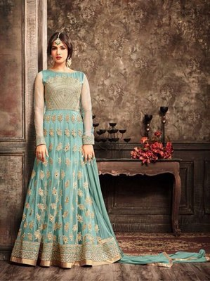 Blue printed net salwar