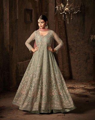 Green printed net salwar