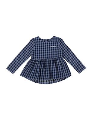 Blue plain cotton kids-tops