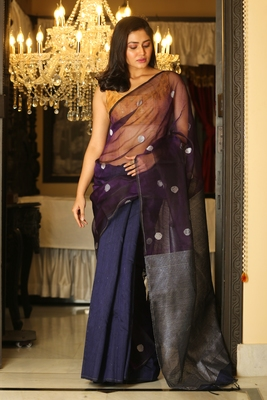 Indigo woven matka silk saree with blouse
