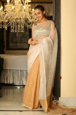 Golden woven matka silk saree with blouse