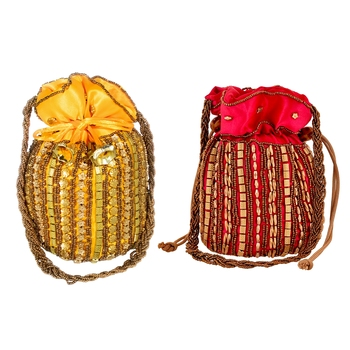 Designer Potli Bag with Beadwork For Women Magenta and Yellow Set of 2