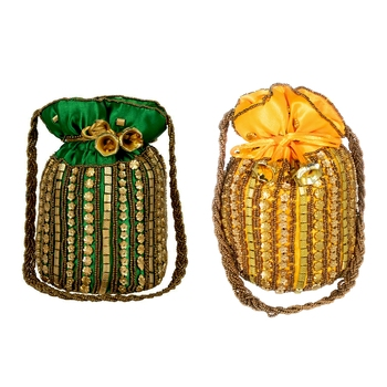 Designer Potli Bag with Beadwork For Women Green and Yellow Set of 2