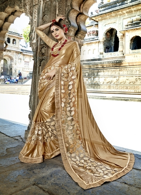 Gold embroidered fancy fabric saree with blouse