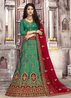 Green plain satin unstitched lehenga
