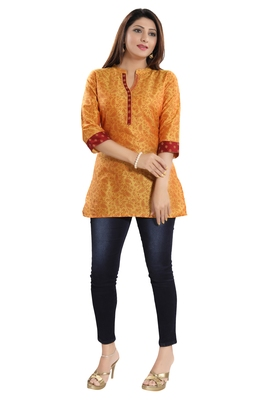 Orange printed cotton silk kurtas-and-kurtis
