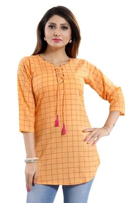 Peach printed cotton kurtas-and-kurtis