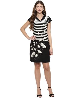 Black woven polyester dresses